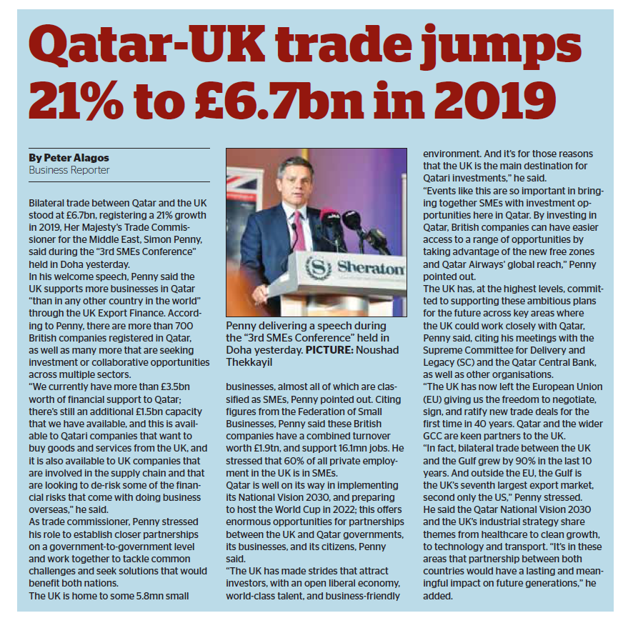 Qatar-UK trade jumps 21% to £6.7bn in 2019