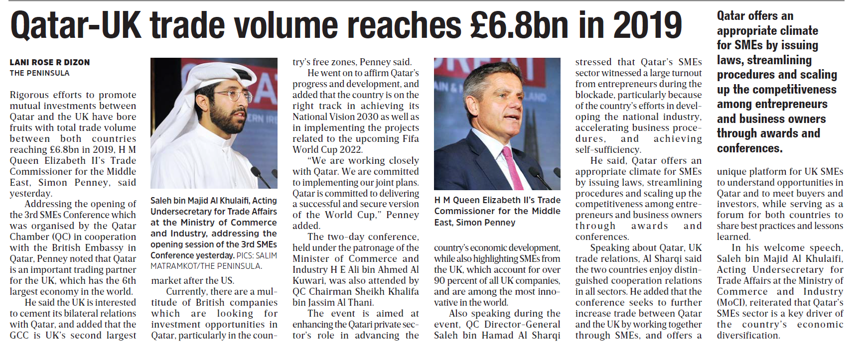 Qatar-UK trade volume reaches £6.8bn in 2019