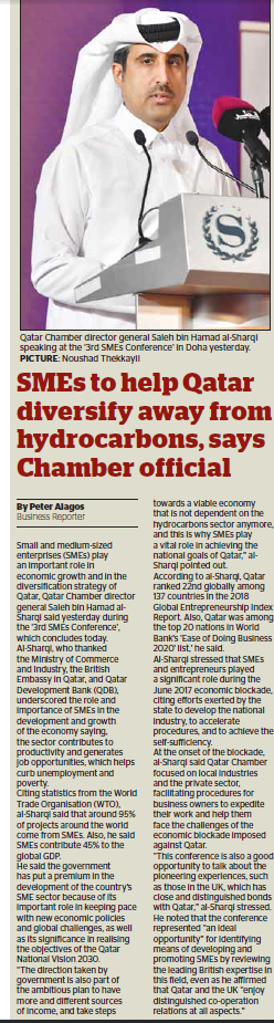 SMEs to help Qatar diversify away from hydrocarbons, says Chamber official